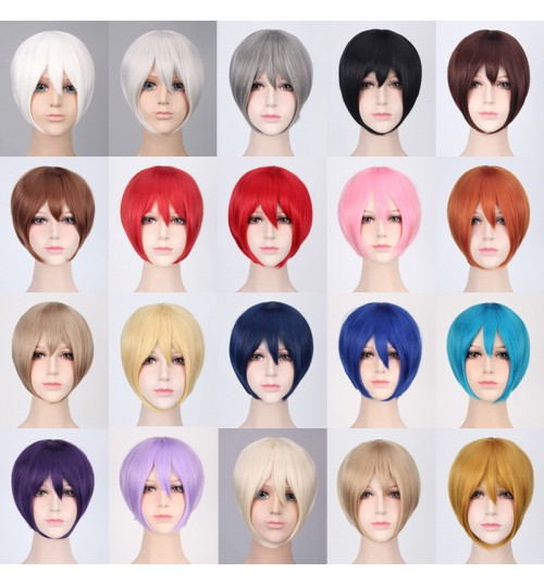 Cosplay wig multi-color universal face cover short hair black white red purple brown blue gray hair bobo