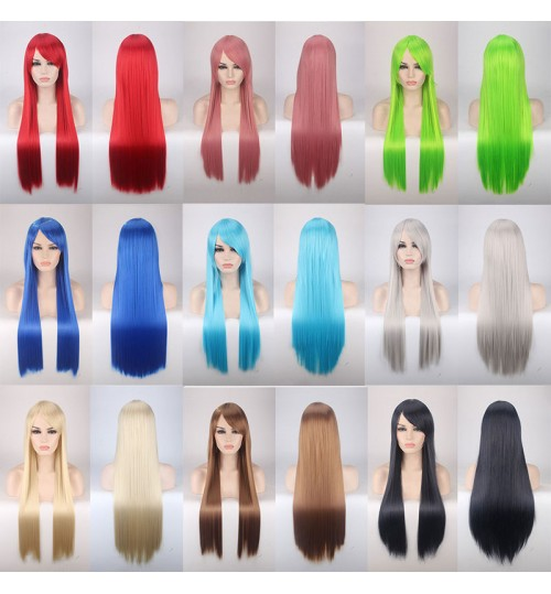 Cosplay wig colorful anime long hair manufacturers wholesale wig 80cm straight hair