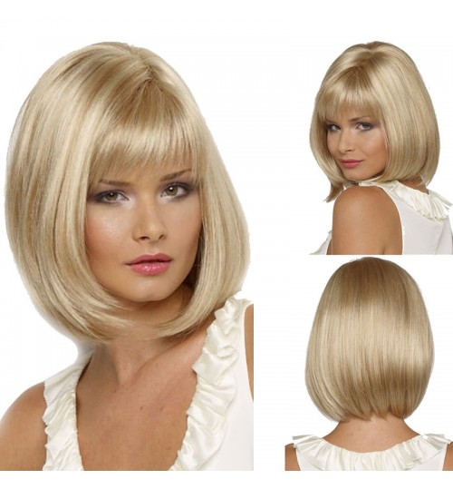 Europe America women wigs bobo straight bangs gold short hair high temperature fiber