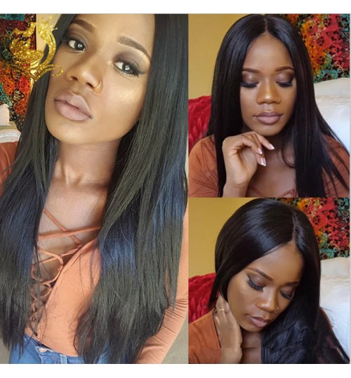 African women's wigs natural black long hair straight hair 80cm chemical fiber wig
