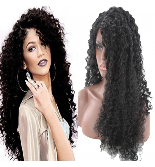 European and American black wigs Africa Synthetic Hair Extensions hot fashion long curly hair