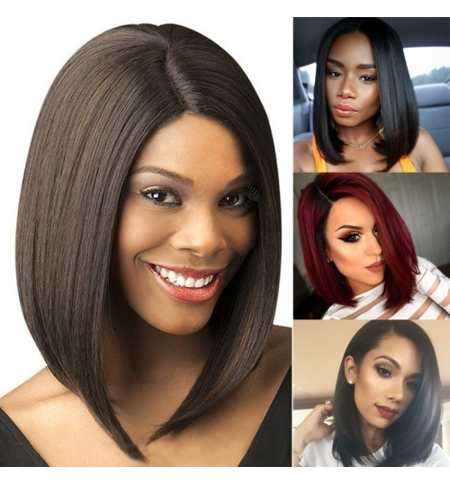 Europe America ladies wig black short straight hair bobo chemical fiber
