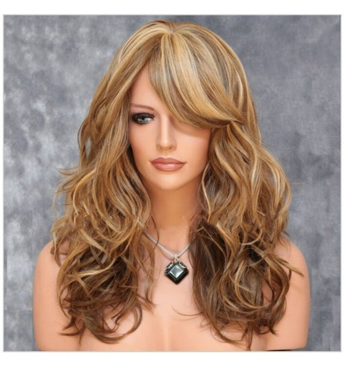 brown highlights blond curly hair oblique bangs big wave long curly wig
