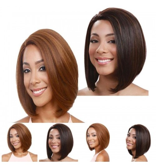 fashion ladies short hair bobo cover face straight wig Pear head brown gold