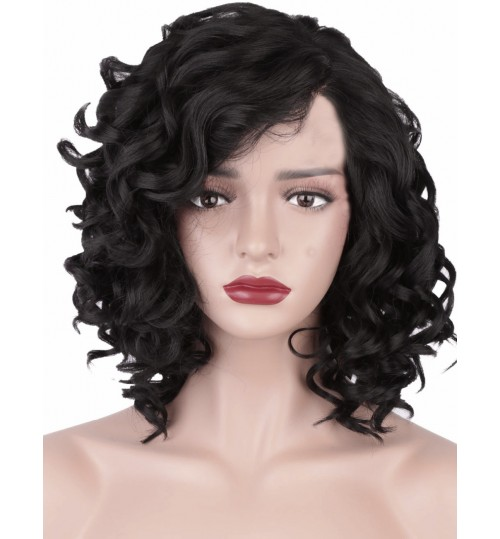 African black short curly hair Europe ladies oblique bangs on the side lifelike curly wig