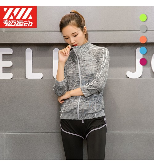 Yoga clothing two-piece fitness running sports suit seamless three-quarter sleeve shirts multicolor for optional