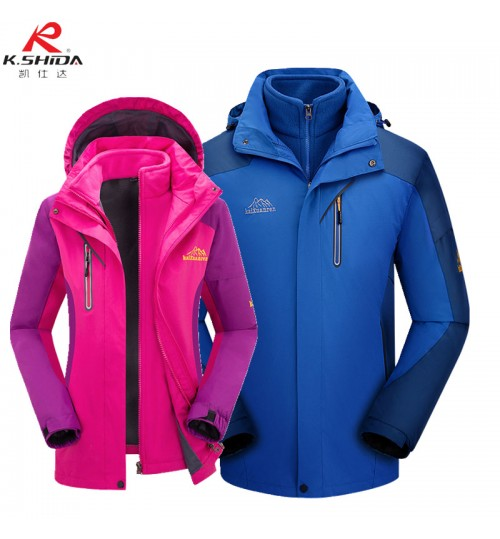 high-grade Mountain clothing winter thick plus velvet jacket waterproof 3-in-1 ski suit