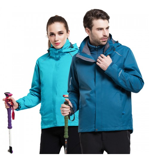 men women autumn winter Jackets 3-in-1 two-piece windproof waterproof large size ski suit jacket outdoor mountain clothing