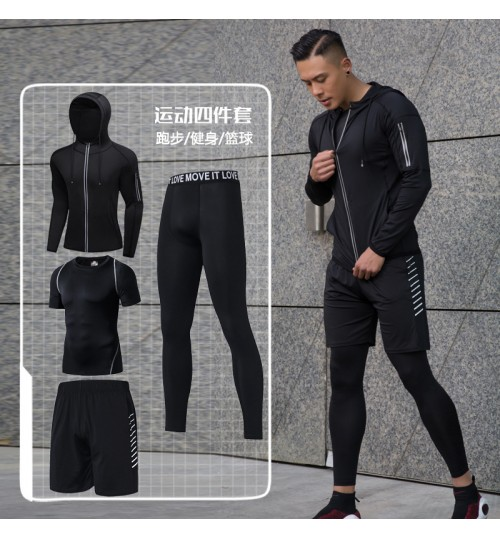 Summer New Running Sports Suit Quick-drying Tights Men's Basketball Four-piece Fitness clothes