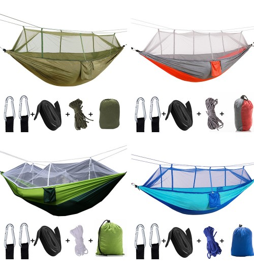 outdoor parachute cloth hammock with mosquito net ultra light nylon double army green camping aerial tent
