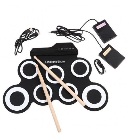 Roll-up USB Electronic Drum Portable Foldable Silicone Practice jazz Drums for children