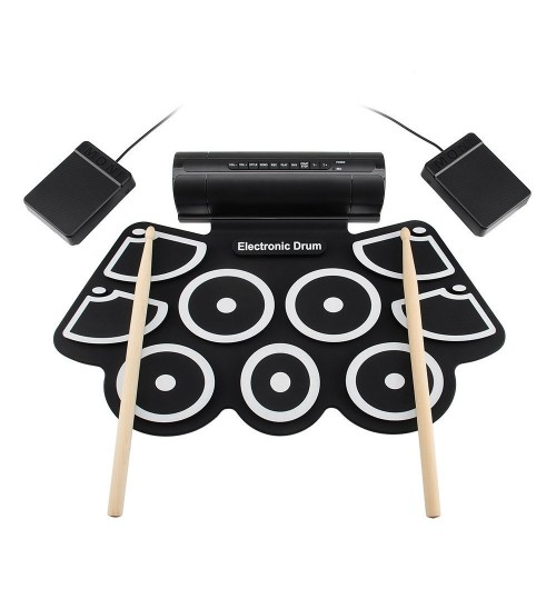 Portable simple Percussion instrument MD760 thick silicone roll-up USB electronic drums