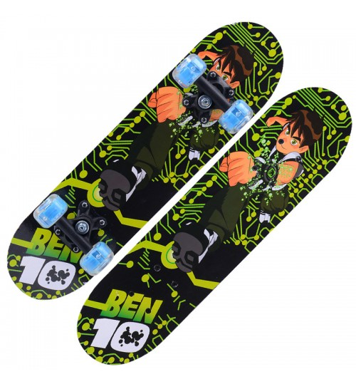 Flash four-wheel skateboard children's primary cartoon Youth double kick skateboard