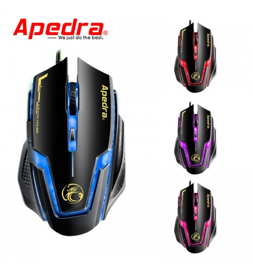 A9 wired game mouse macro definition 6 key four color controllable breathing light