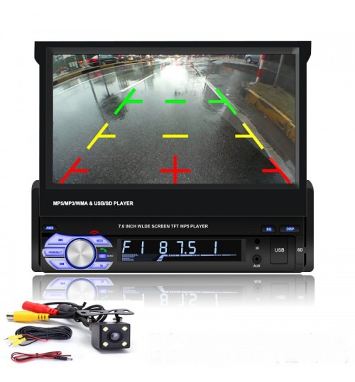 New 7-inch retractable screen MP5 player universal device mp4 mp3 dvd navigation all-in-one Bluetooth radio reversing