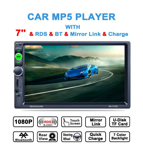 HD 7 inch 2Din car MP5 player universal mobile phone interconnection radio AM FM RDS Bluetooth all-in-one device
