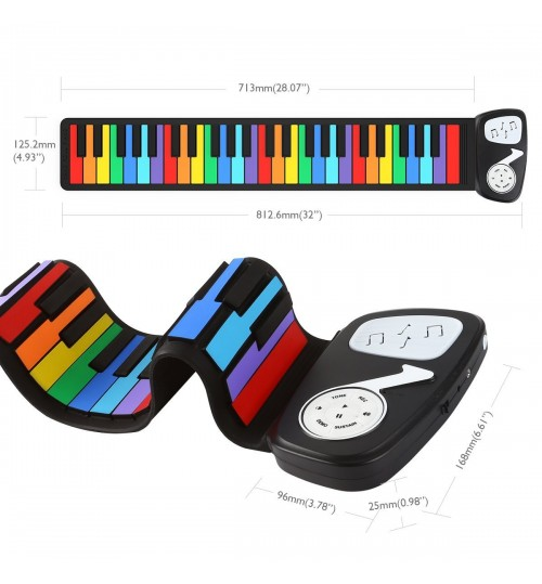 49-key portable roll-up piano Children's entry-level keyboard funny silicone piano Rainbow version