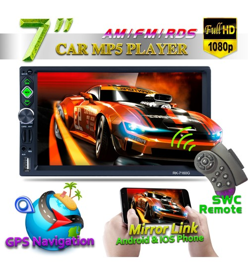 7 inch GPS navigation MP5 2Din car Bluetooth mobile phone interconnection reversing image