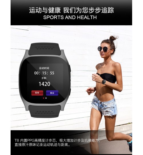 2018 T8 smart watch intelligent bracelet plug-in card calling sports bluetooth watch