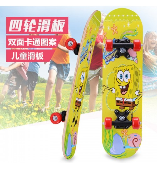 Children's four-wheel maple skateboard double-sided cartoon sticker