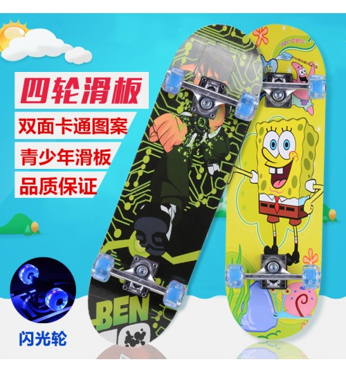 Children's four-wheel skateboard primary cartoon double kick skateboard factory wholesale