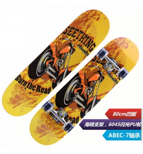 Beginner's Street Four Wheel Double Kick Skateboard Children Adult Women PU Flash Wheel