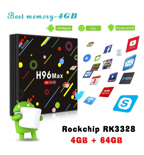 H96 Max RK3328 4G DDR3 64G Android 7.1 TV Box Smart HD TV Set-top Box