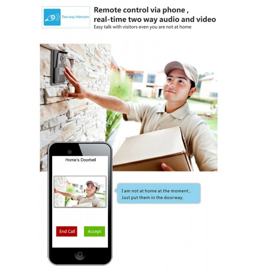 wireless doorbell ip camera visible video conversation system mobilephone APP control anti-theft alarm monitoring